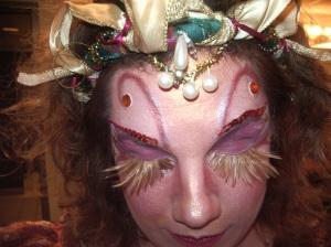 Christina Wells in full eyelash get-up